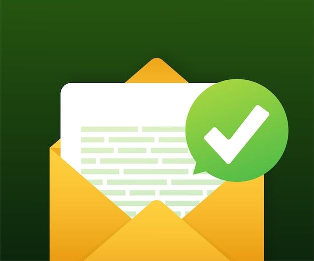 Envelope e documento abertos com marca de seleção verde Vetor Premium