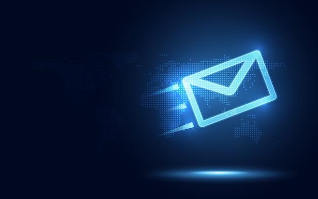 Envelope expresso azul futurista e parcela abstrata fundo de tecnologia Vetor Premium