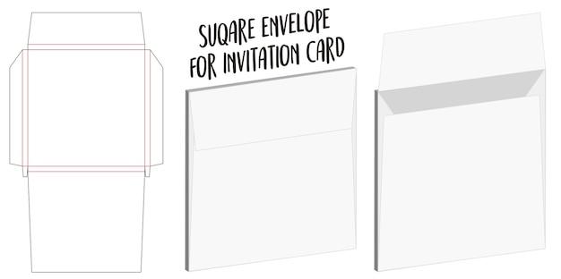 Envelope quadrado para maquete de dieline de cartão de convite Vetor Premium