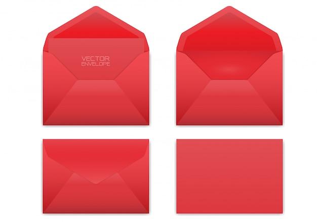 Envelope vermelho realístico ajustado no fundo branco. Vetor Premium