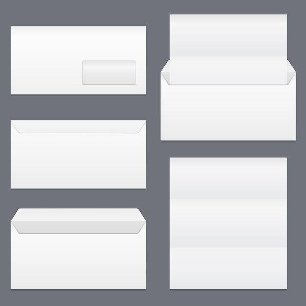 Envelopes e papel em branco Vetor Premium