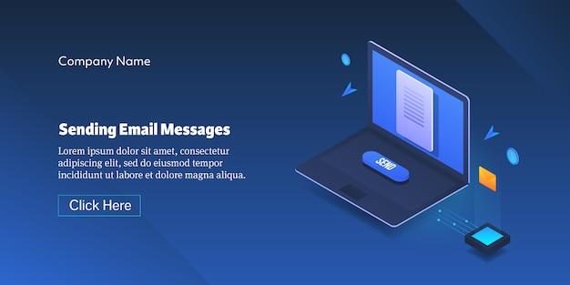 Enviando banner de mensagem de email Vetor Premium