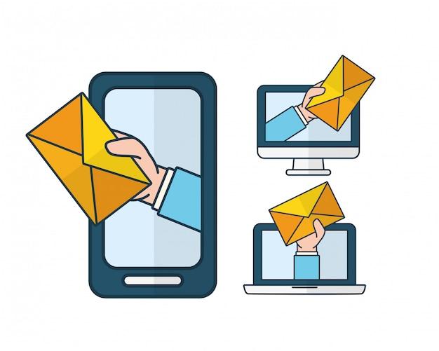 Enviar conceito de email Vetor grátis