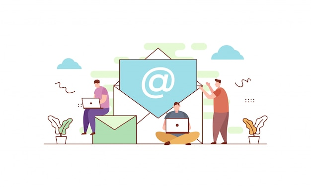 Envie-nos uma mensagem em estilo simples Vetor Premium
