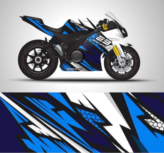 Envoltório do decalque da motocicleta e ilustração da etiqueta do vinil. Vetor Premium