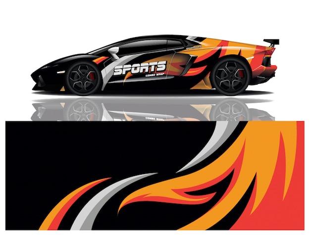 Envoltório do decalque do carro esporte Vetor Premium