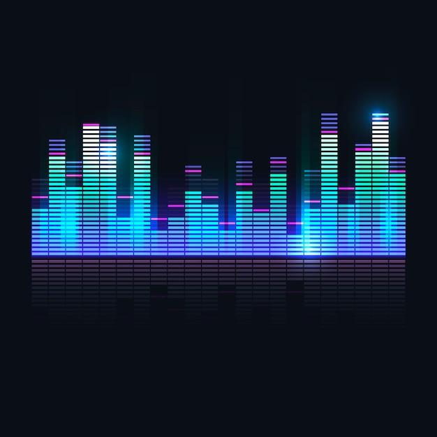 Equalizador de onda sonora colorida Vetor grátis