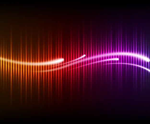 Equalizador digital brilhante colorido com ondas e linhas brilhantes. música de fundo Vetor Premium