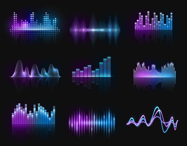 Equalizadores de música, ondas de áudio ou rádio, linhas de faixa de neon de frequência de som. formato de onda do display do reprodutor digital, tecnologia hud para barra de melodia, sinal do gravador de ondas sonoras. conjunto de pulso isolado de estúdio de música Vetor Premium