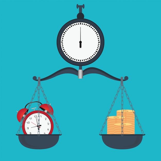 Equilibre tempo e dinheiro em escalas Vetor Premium