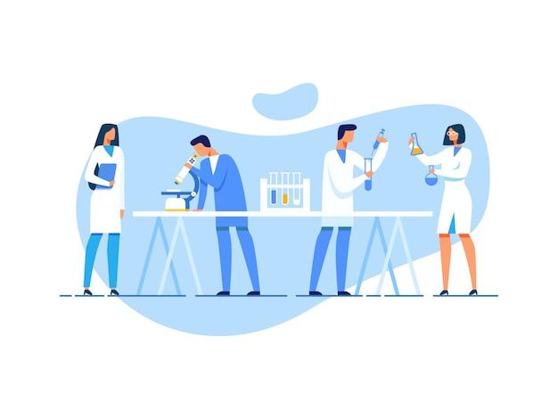 Equipa científica no trabalho no laboratório de investigação Vetor Premium