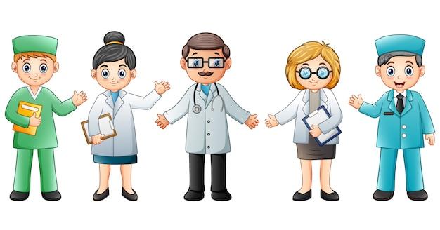 Equipa médica isolada no fundo branco. médico e enfermeira Vetor Premium