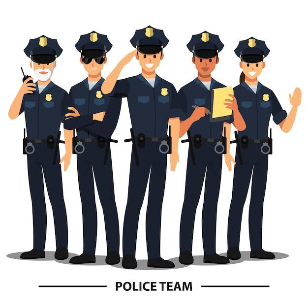Equipa policial Vetor Premium