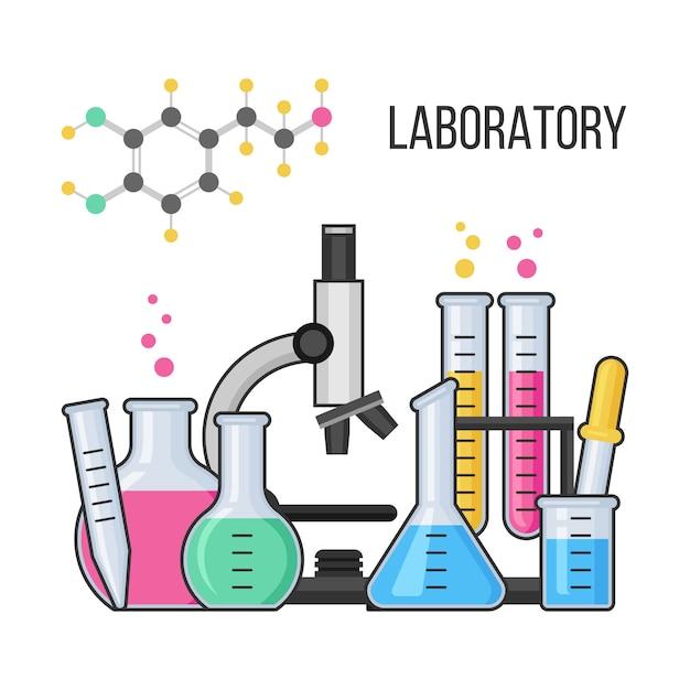 Equipamento científico no laboratório de química Vetor Premium