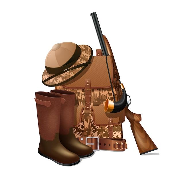 Equipamento de caça vintage e engrenagem retrô pictograma com rifle e camuflagem esportiva Vetor grátis