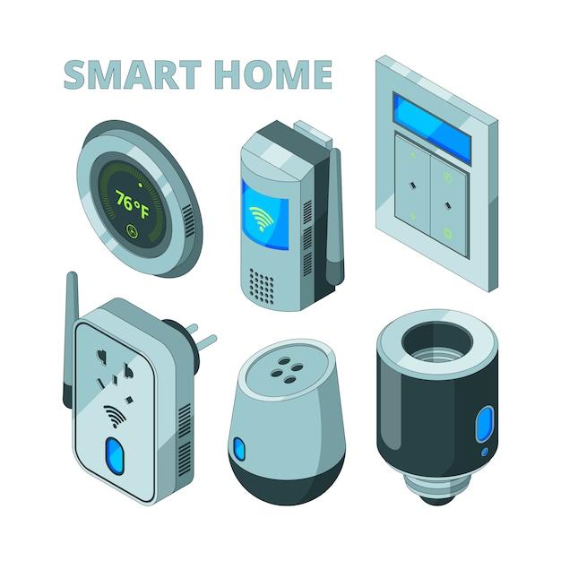Equipamento de casa inteligente, sensores de movimento soquete elétrico cam de segurança isométrica Vetor Premium