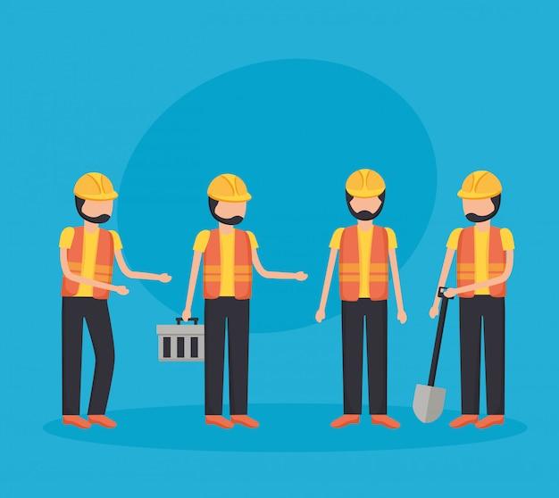 Equipamento de construção de trabalhadores Vetor grátis