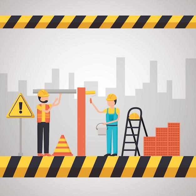 Equipamento de construção do trabalhador Vetor grátis