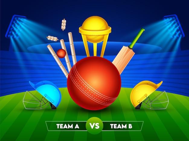 Equipamento de críquete realista com a copa do troféu de ouro e dois capacetes dos participantes da equipe a e b no fundo brilhante do estádio para o campeonato de críquete. Vetor Premium