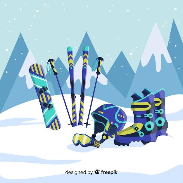 Equipamento de esporte de inverno Vetor grátis