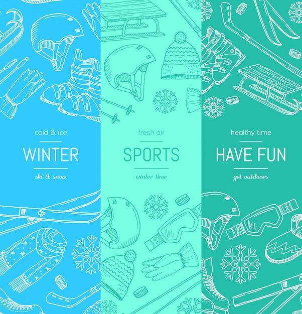 Equipamento de esportes de inverno mão desenhada e atributos Vetor Premium