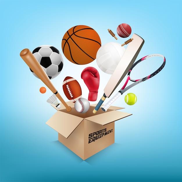 Equipamento de esportes fora da caixa no fundo azul Vetor Premium