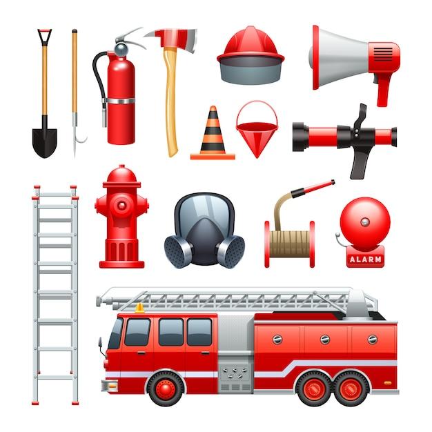 Equipamento de ferramentas de bombeiro Vetor grátis