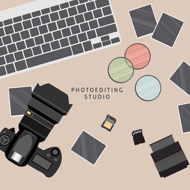 Equipamento de fotografia profissional Vetor grátis