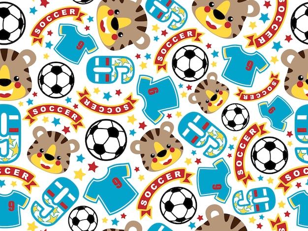 Equipamento de futebol e cabeça de tigre Vetor Premium