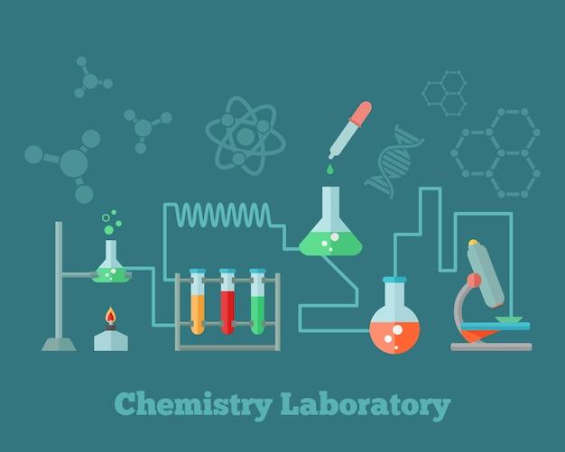 Equipamento de laboratório de pesquisa de química ensino emblema de microscópio Vetor grátis