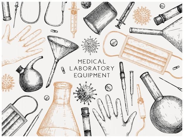 Equipamento de laboratório de teste de vírus corona. molde desenhado da mão do coronavirus. novo panfleto de pandemia. banner com equipamentos de laboratório, medicamentos, ferramentas de proteção, desenhos de vírus. Vetor Premium