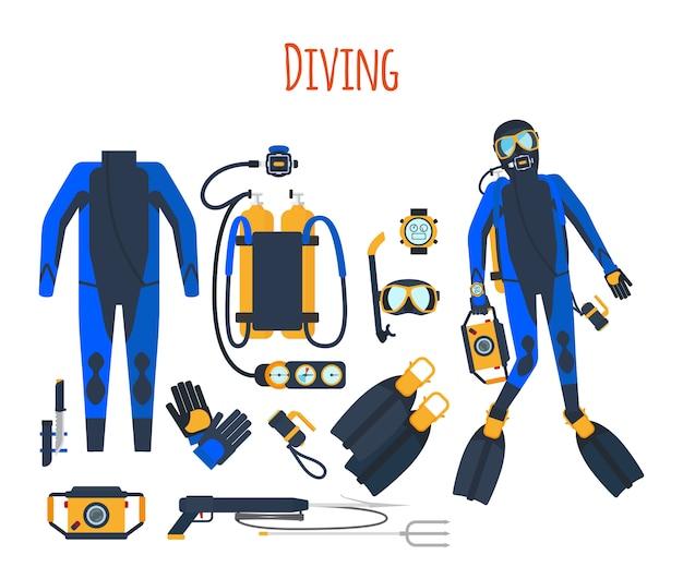 Equipamento de mergulho isolado conjunto Vetor Premium