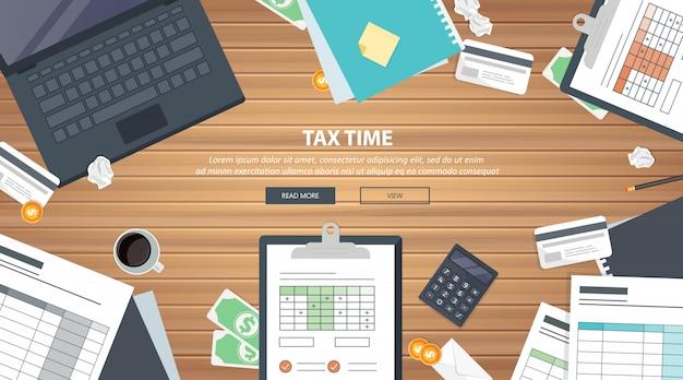 Equipamento de pagamento de impostos na mesa Vetor Premium