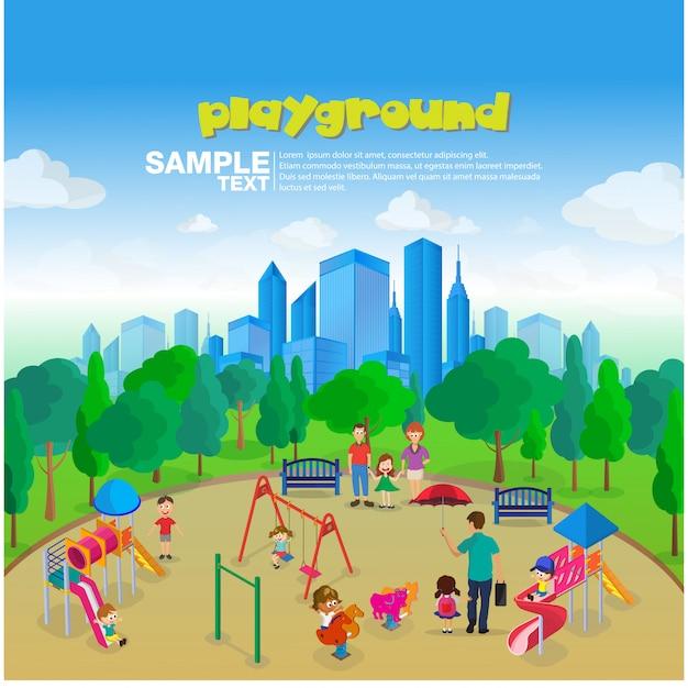 Equipamento de parque infantil isométrico Vetor Premium
