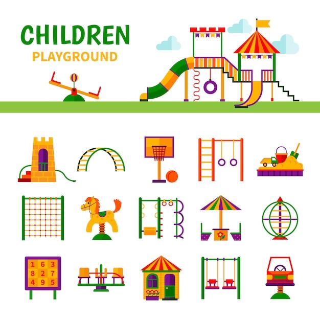 Equipamento do campo de jogos das crianças Vetor grátis