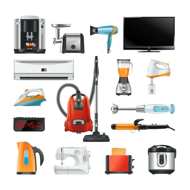 Equipamento doméstico eletrônico isolado no branco Vetor Premium