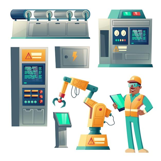 Equipamento industrial, grupo dos desenhos animados das máquinas isolado no fundo branco. Vetor grátis