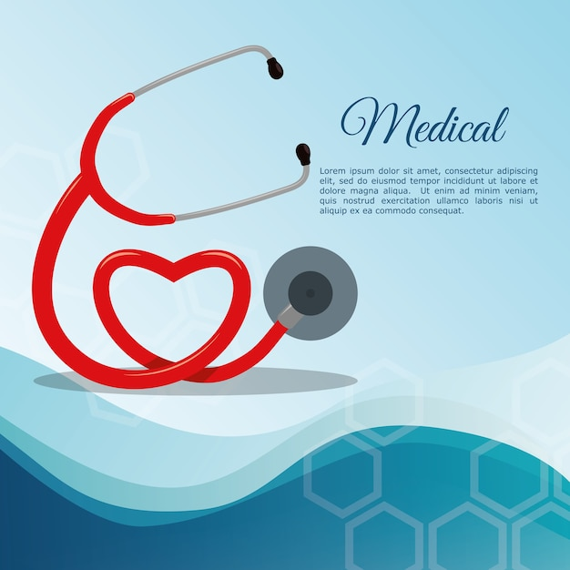 Equipamento médico do estetoscópio Vetor Premium