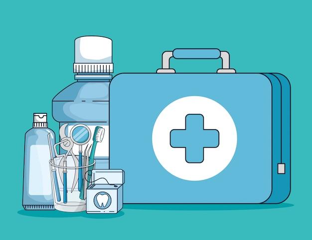 Equipamento para medicina dentária e higiene oral Vetor grátis