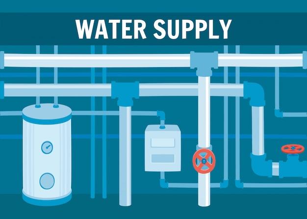 Equipamento para sistema de circulação de água no porão Vetor Premium