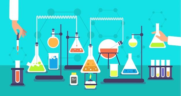 Equipamento químico no laboratório de análise química. experiência de laboratório de pesquisa de escola de ciência Vetor Premium
