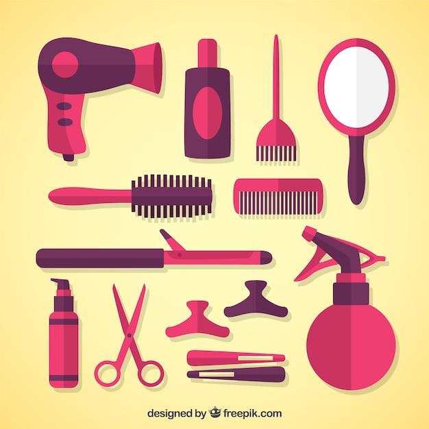 Equipamentos de cabeleireiro no design plano Vetor grátis