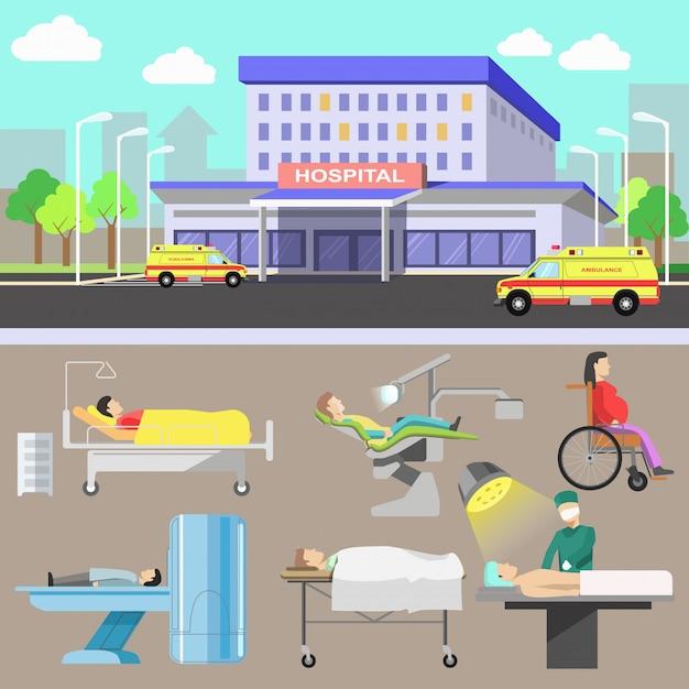 Equipamentos de diagnóstico médico e equipe médica. Vetor Premium