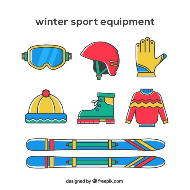 Equipamentos de esporte de inverno colorido Vetor grátis