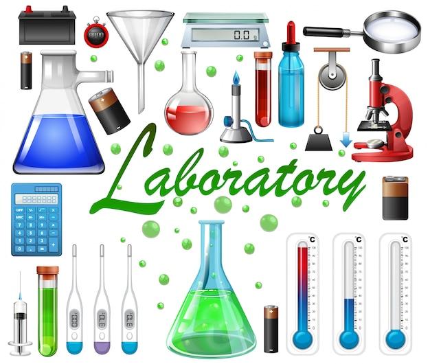 Equipamentos de laboratório em fundo branco Vetor grátis