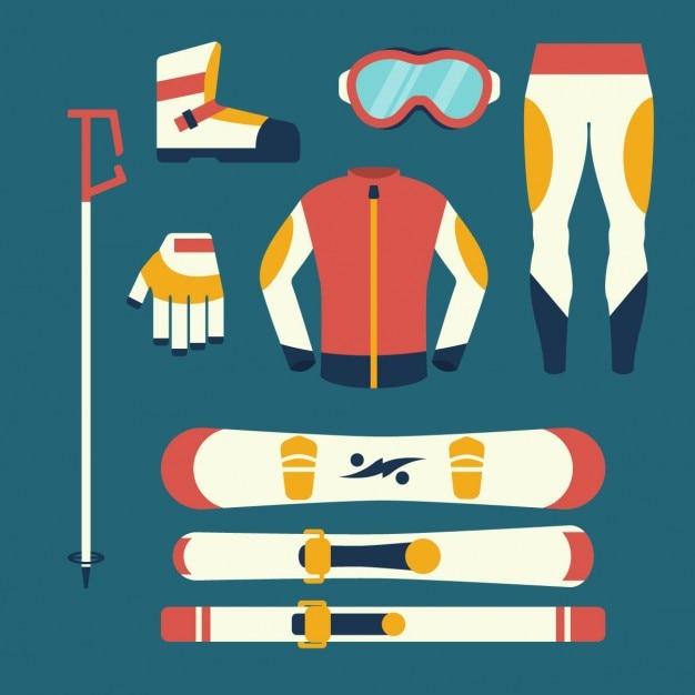 Equipamentos de snowboard e esqui Vetor grátis