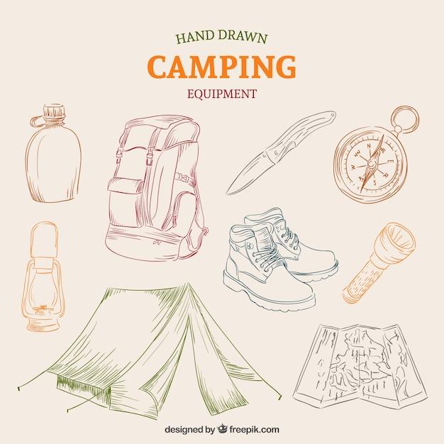 Equipamentos desenhada mão de acampamento Vetor grátis