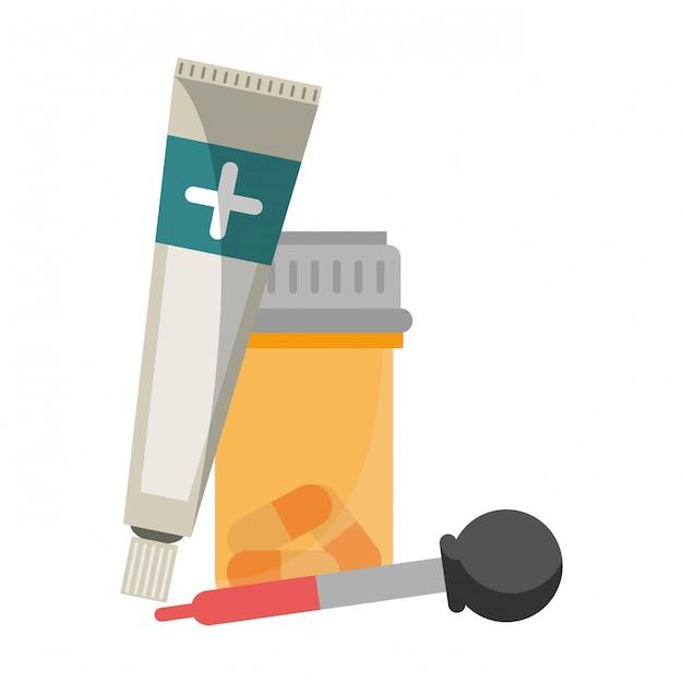 Equipamentos e suprimentos médicos de saúde Vetor Premium
