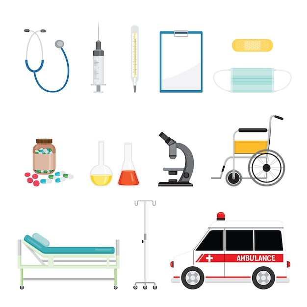 Equipamentos médicos, conjunto de objetos de ferramentas Vetor Premium