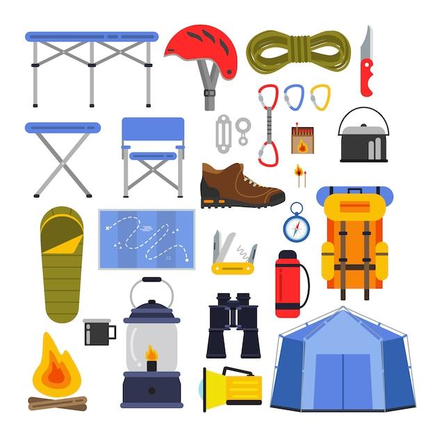 Equipamentos para caminhadas e escaladas. acampar ou viajar conjunto de ilustrações vetoriais Vetor Premium